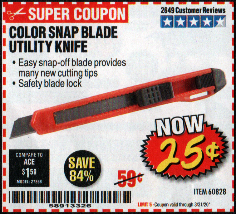 Harbor Freight 25 cents box cutter