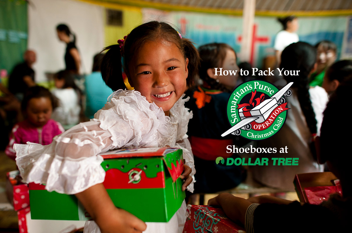 Packing Operation Christmas Child Shoeboxes at Dollar Tree