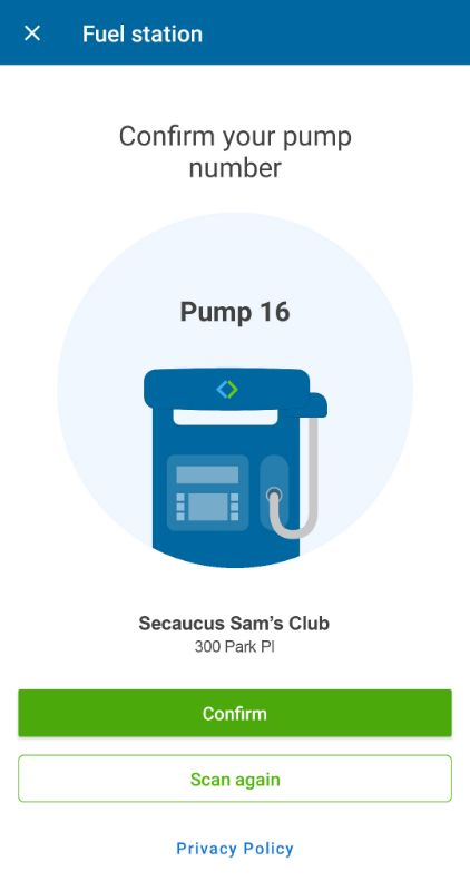 Sam's Club Scan & Go Fuel
