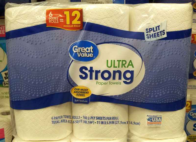 Walmart Made in the USA paper towels