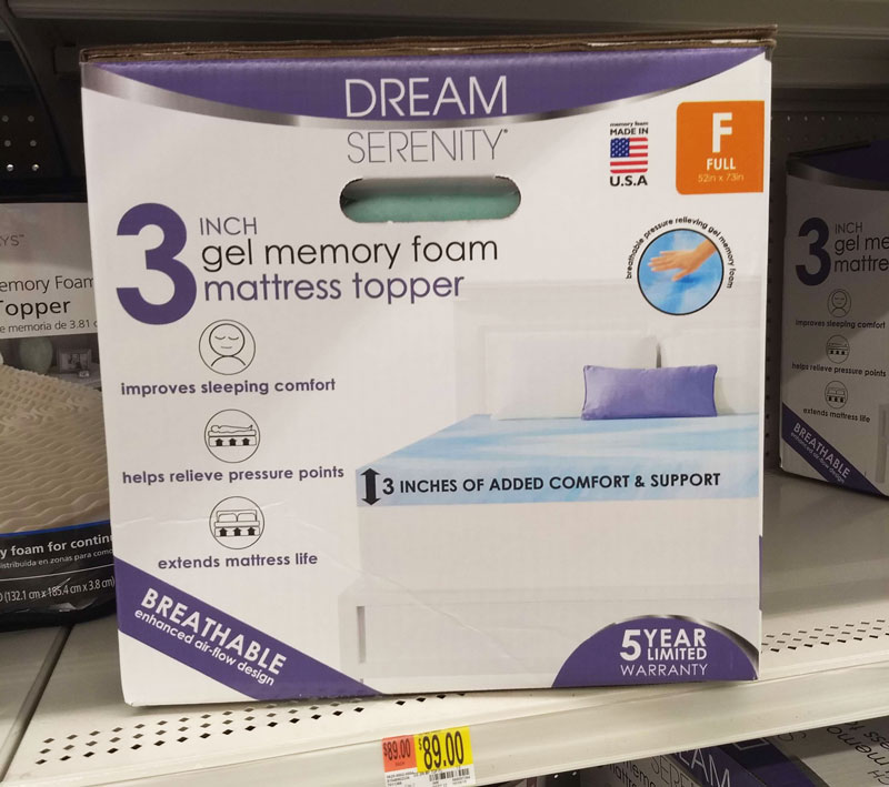 Walmart Made in the USA memory foam