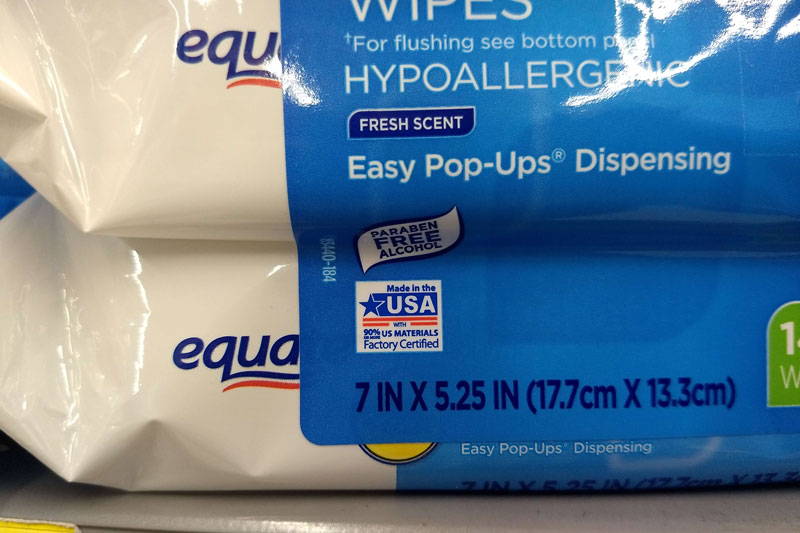 Walmart Made in the USA wipes